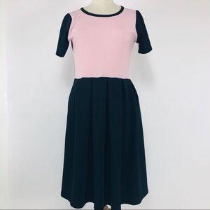 Lularoe pink & black Simply Comfort Amelia dress.